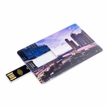 Флешка VF-801С2 белая, визитка-кредитка пластиковый корпус