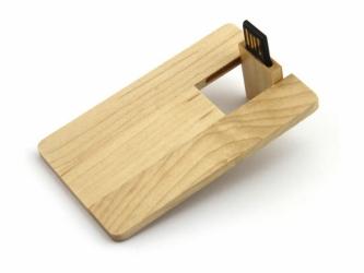 Флешка VF-801w, визитка деревянный корпус