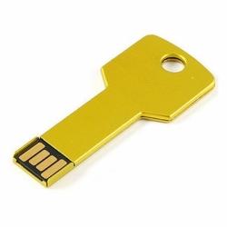 Флешка VF-808 key золото, мини ключ металлический корпус