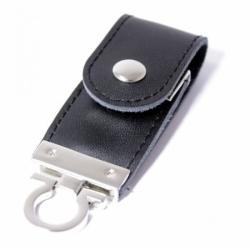 Флешка VF-L3 чёрный, кожаный корпус