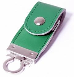 Флешка VF-L3 зелёный, кожаный корпус