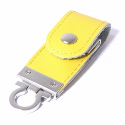 Флешка VF-L3 жёлтый, кожаный корпус