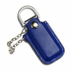 Флешка VF-L4 синий, кожаный корпус