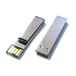 Флешка VF-mini-С30 серебро, мини клип или зажим для денег металлический корпус